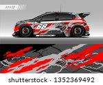 racing car wrap design vector.... | Shutterstock .eps vector #1352369492