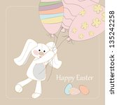 happy easter bunny with balls... | Shutterstock .eps vector #135242258