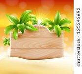 summer design. palms and poster ... | Shutterstock .eps vector #135243692