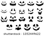 a large set of pumpkin faces.... | Shutterstock .eps vector #1352449622
