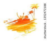 abstract painted splash shape...   Shutterstock . vector #1352472188