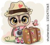 cute cartoon owl tourist in a... | Shutterstock .eps vector #1352475365
