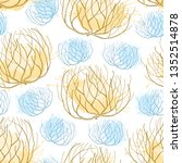Vector seamless pattern with rolling desert plant Tumbleweed in beige and blue on the white background. Dry weed round bush Tumbleweed in contour style for desert landscape design.
