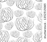 Vector seamless pattern with rolling desert plant Tumbleweed in black on the white background. Dry weed round bush Tumbleweed in contour style for desert landscape design.