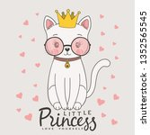 cute cat princess with crown ...   Shutterstock .eps vector #1352565545