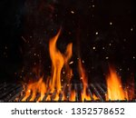 empty grill with fire isolated... | Shutterstock . vector #1352578652