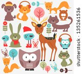 Stock vector set of various cute animals 135261536
