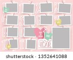 template for photo collage.baby ... | Shutterstock .eps vector #1352641088