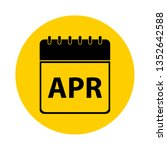 april calendar yellow vector... | Shutterstock .eps vector #1352642588