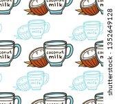 coconut milk in a cup doodle... | Shutterstock .eps vector #1352649128