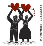couple holds two hearts cross... | Shutterstock .eps vector #135266555