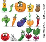 cartoon vegetables and fruits | Shutterstock .eps vector #135267182