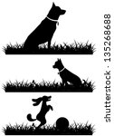 dogs in grass silhouettes... | Shutterstock .eps vector #135268688