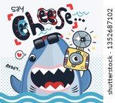 Funny Shark Cartoon Holding...