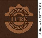 turk realistic wooden emblem | Shutterstock .eps vector #1352692595