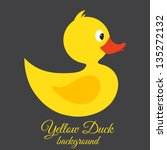 Yellow duck Vector background - stock vector