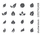 abstract leaf icon set isolated ... | Shutterstock .eps vector #1352741408