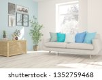 stylish room in white color... | Shutterstock . vector #1352759468