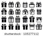 vector black gift icon set on white