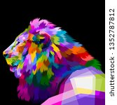 Colorful Lion Looked From The...
