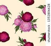 vector peonies. seamless... | Shutterstock .eps vector #1352806628