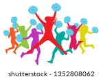 jumping girls with pompoms ... | Shutterstock .eps vector #1352808062