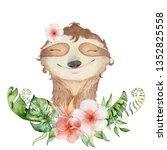 watercolor slothbears cute... | Shutterstock . vector #1352825558