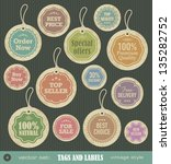 tags and labels vintage style... | Shutterstock .eps vector #135282752