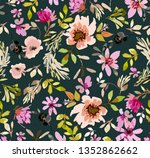vintage old pattern with brown... | Shutterstock .eps vector #1352862662