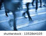 people person on zebra crossing ... | Shutterstock . vector #1352864105
