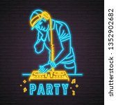 dj musician neon light glowing... | Shutterstock .eps vector #1352902682