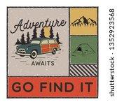 vintage hand drawn adventure... | Shutterstock .eps vector #1352923568
