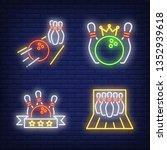 bowling balls and skittles neon ... | Shutterstock .eps vector #1352939618