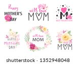 floral set with love on mothers ... | Shutterstock .eps vector #1352948048