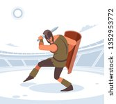 gladiator with sword and armor. ... | Shutterstock .eps vector #1352953772