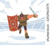 achilles in battle runs to the... | Shutterstock .eps vector #1352961575