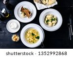 three course set on the table... | Shutterstock . vector #1352992868