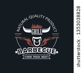 barbecue grill emblem for... | Shutterstock .eps vector #1353038828