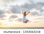 happy beautiful young girl... | Shutterstock . vector #1353063218