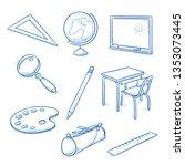 set of school objects  as... | Shutterstock .eps vector #1353073445