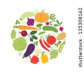 vector vegetables illustrations | Shutterstock .eps vector #135308162