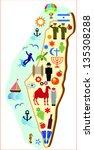 map of israel  symbols of... | Shutterstock .eps vector #135308288