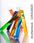 seven test tubes with colored... | Shutterstock . vector #135310025