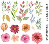 watercolor flowers and leaves ... | Shutterstock . vector #1353114815