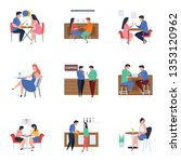 meetings and refreshment flat... | Shutterstock .eps vector #1353120962