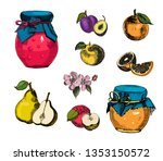 collection of jar of jam with...   Shutterstock .eps vector #1353150572