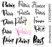 set of hand lettering paris  ... | Shutterstock .eps vector #1353248495