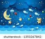 surreal seascape by night with... | Shutterstock .eps vector #1353267842