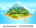 cartoon tropical island with... | Shutterstock .eps vector #1353353588