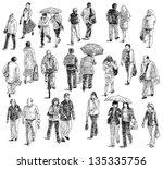 walking people | Shutterstock . vector #135335756
